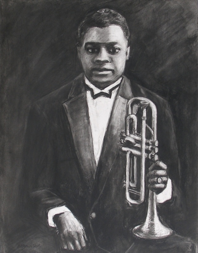 Louis Armstrong Aged 22 Chalks on paper 71 x 56 cm