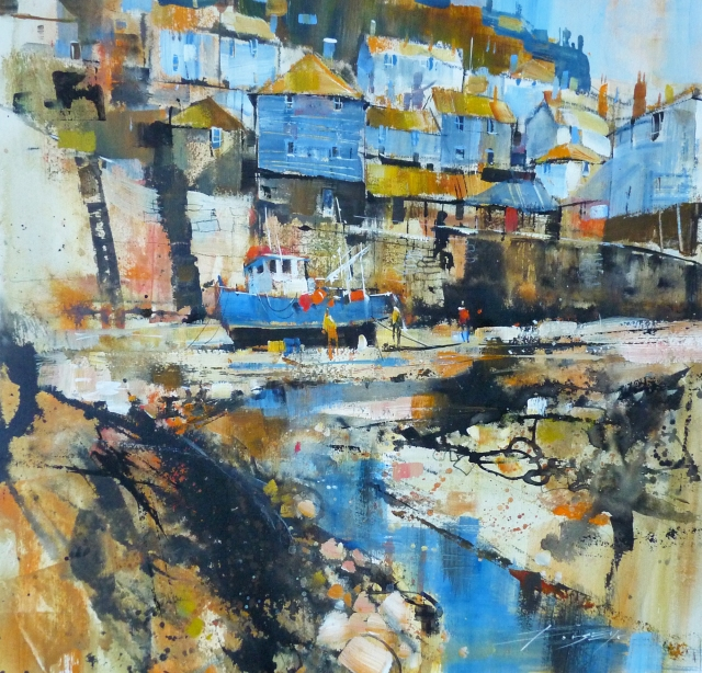 SGFA Journal - Blue Boat, Blue Skies, Port Isaac by Chris Forsey RI SGFA
